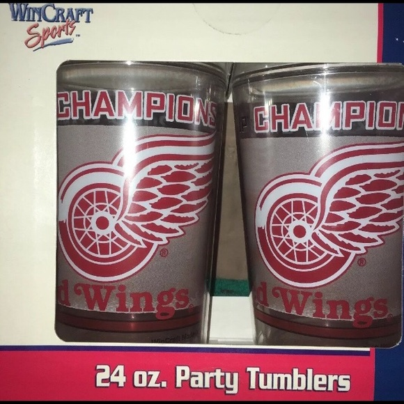 🆕 Detroit Red Wings 2008 Champions 24oz Tumblers- NWT